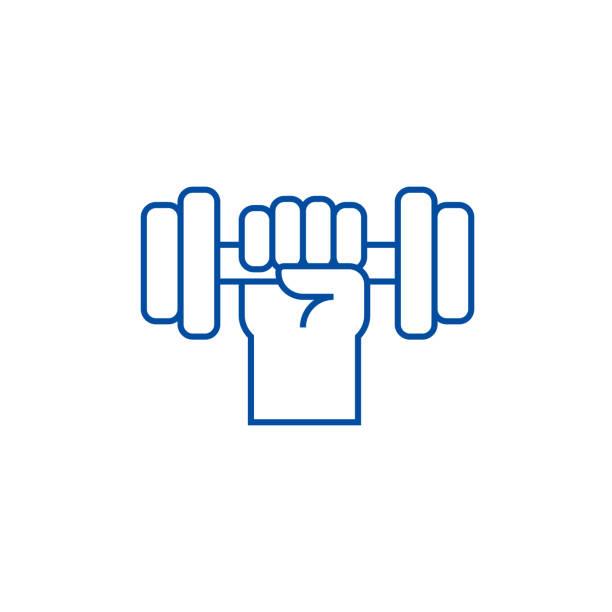 Mano fuerte con el concepto de icono de línea de mancuerna. Mano fuerte con mancuerna símbolo de vector plano, signo, Ilustración de contorno. - ilustración de arte vectorial