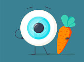 Strong healthy white eye, eyeball doing exercises with dumbbells and carrot character. Vector flat cartoon illustration