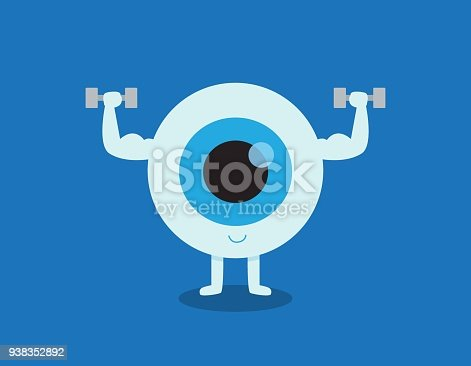 Strong healthy white eye, illustration icon Medical healthcare concept. eyeball doing exercising with dumbbells. Vector flat cartoon character design. Isolated on blue backgound