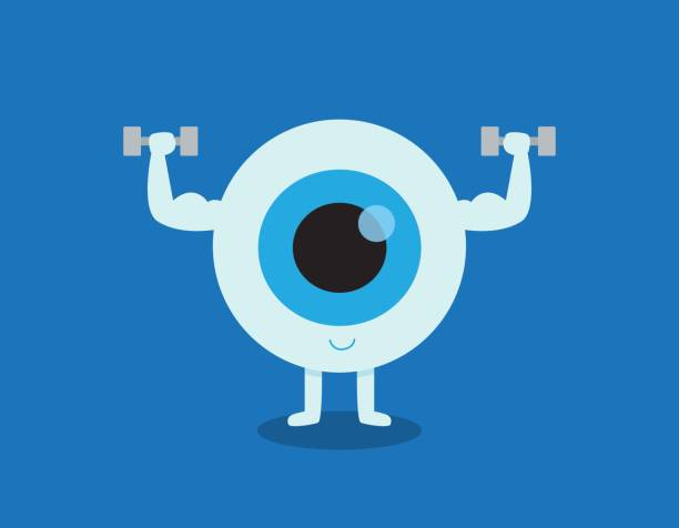 strong healthy white eye, illustration icon medical healthcare concept. eyeball doing exercising with dumbbells. vector flat cartoon character design. isolated on blue backgound - глазное яблоко stock illustrations