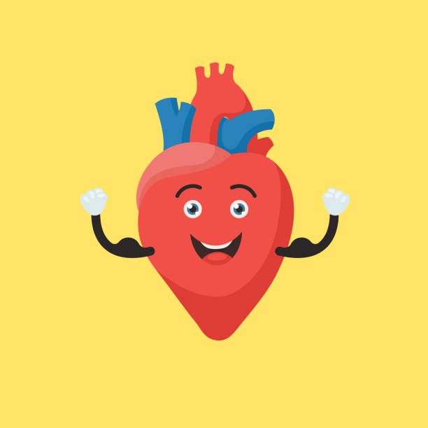 strong heart character - cartoon muscle arms stock illustrations, clip art, cartoons, & icons