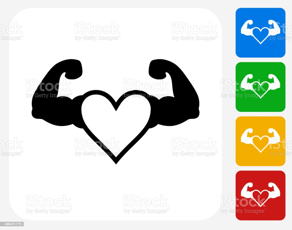 Strong Heart Icon Flat Graphic Design Stock Illustration..