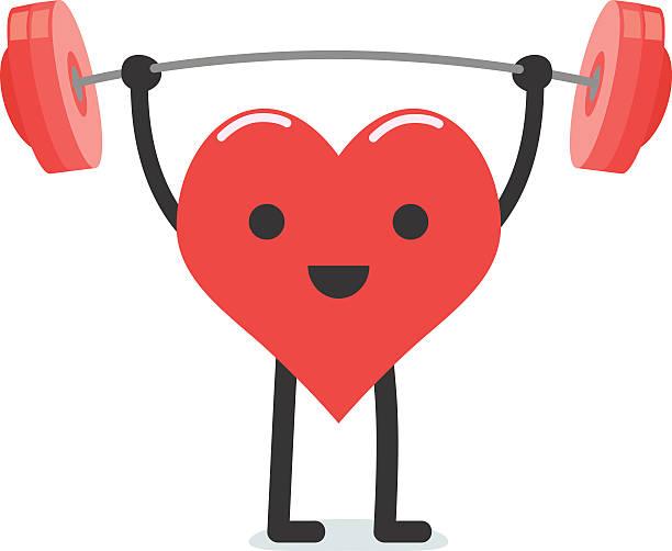 ilustrações de stock, clip art, desenhos animados e ícones de coração forte, levantamento de pesos - coração fraco