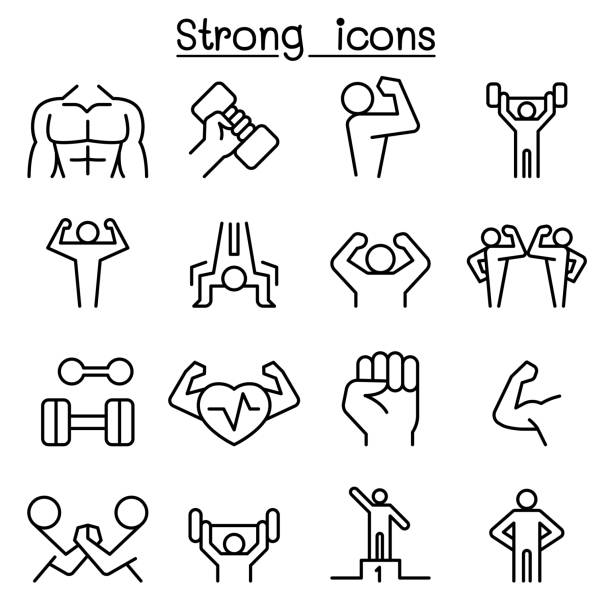 Strong icon set in thin line style vector art illustration
