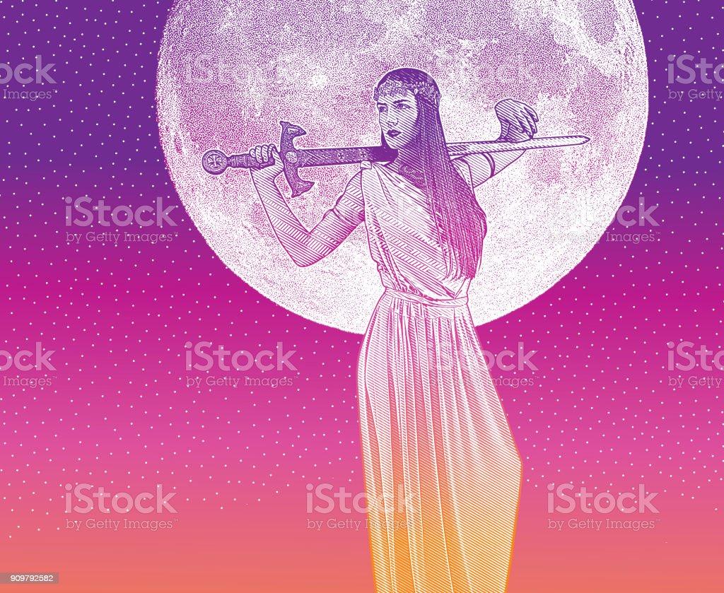 Mulher forte e independente, segurando espada e vestido de grega clássica - ilustração de arte em vetor