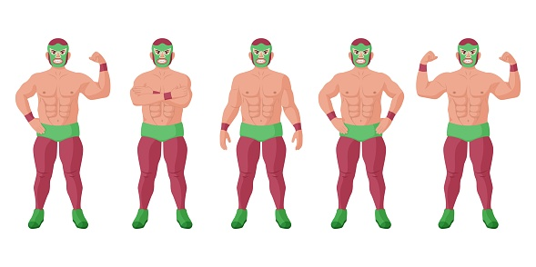 Strong lucha libre mexican wrestler in different pose set
