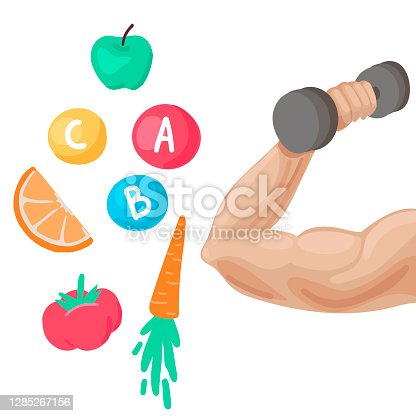 istock Strong male muscle arm holding dumbbell and healthy food. Vector illustration 1285267156