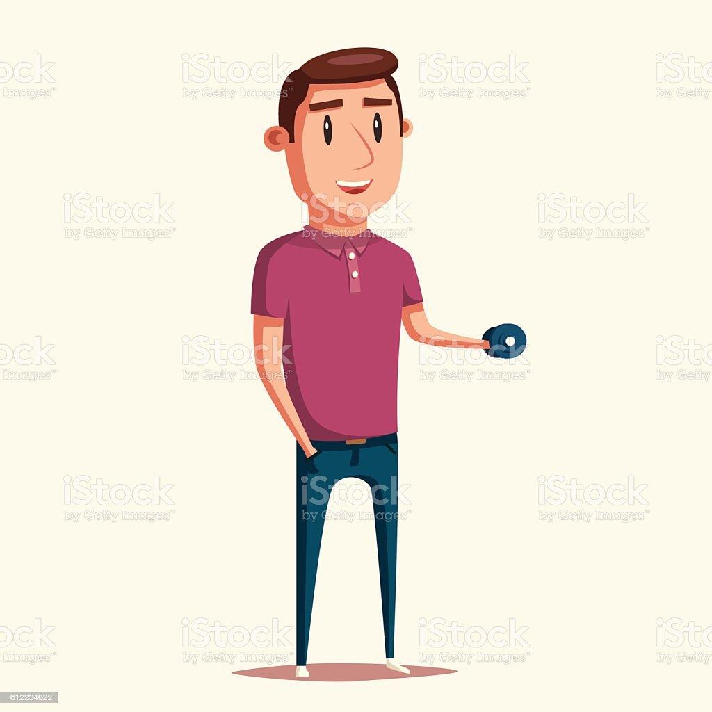 Strong man. Cartoon character. Vector illustration vector art illustration