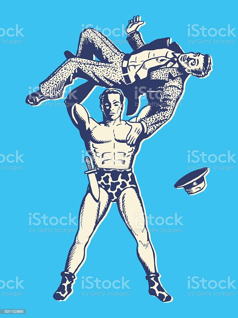 Strong Man Lifting Man Over His Head vector art illustration