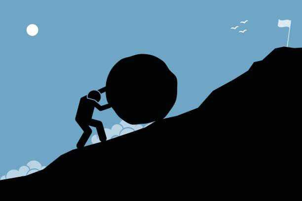 ilustrações de stock, clip art, desenhos animados e ícones de a strong man pushing a big rock up the hill to reach the goal on top. - penedo