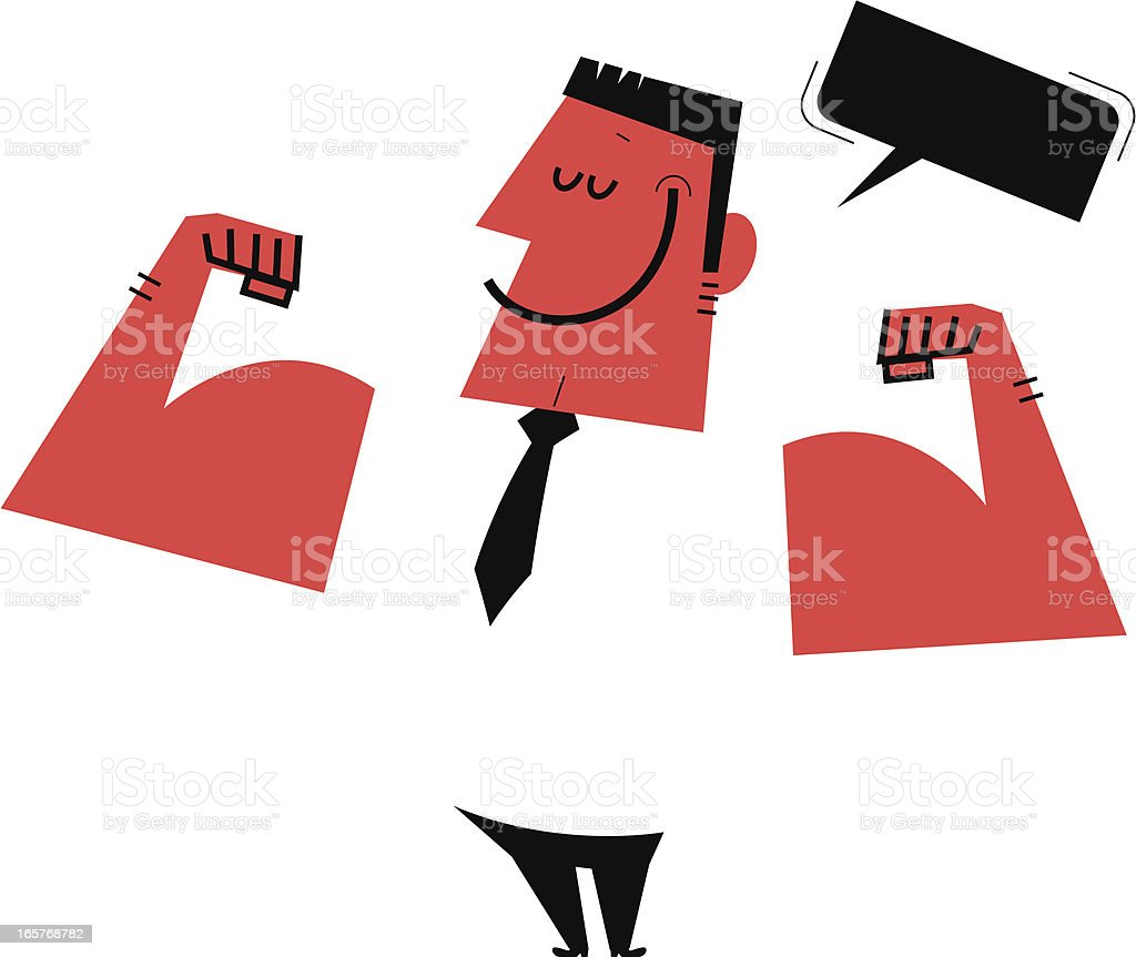 Strong man showing his muscles vector art illustration