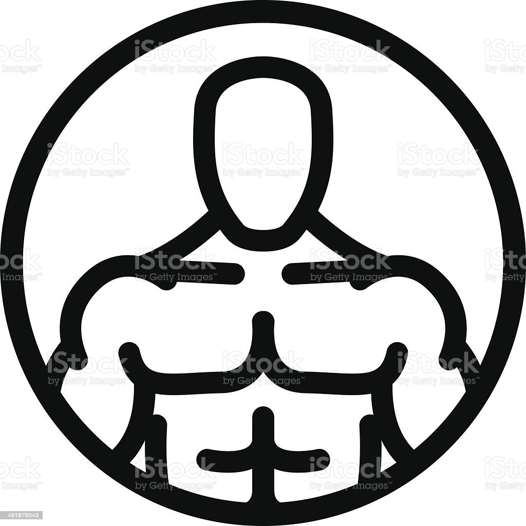 Strong Man Symbol In Circle Stock Vector Art More Images Of Adult