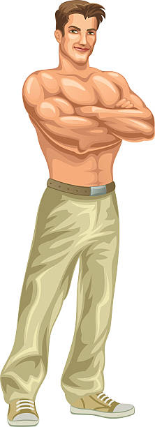 ilustrações de stock, clip art, desenhos animados e ícones de homem forte - tronco nu