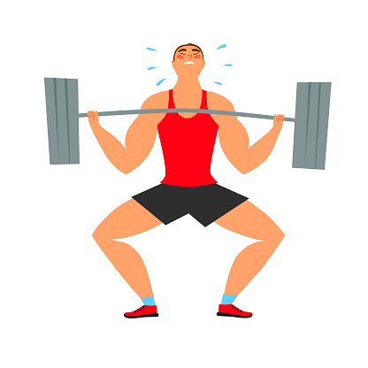 Strong man with heavy barbell struggle doing exercise.