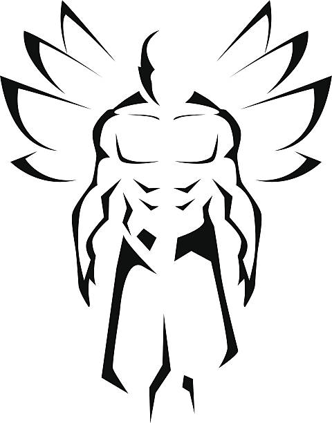 Strong man with powerfull wings vector art illustration