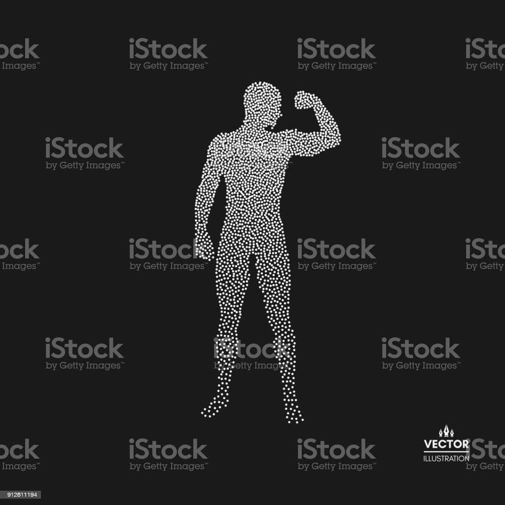 Strong men. Dotted silhouette of person. Vector illustration. vector art illustration