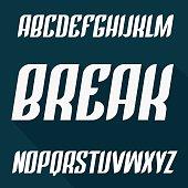 Strong modern typeset. Vector font. Trendy Condensed uppercase alphabet