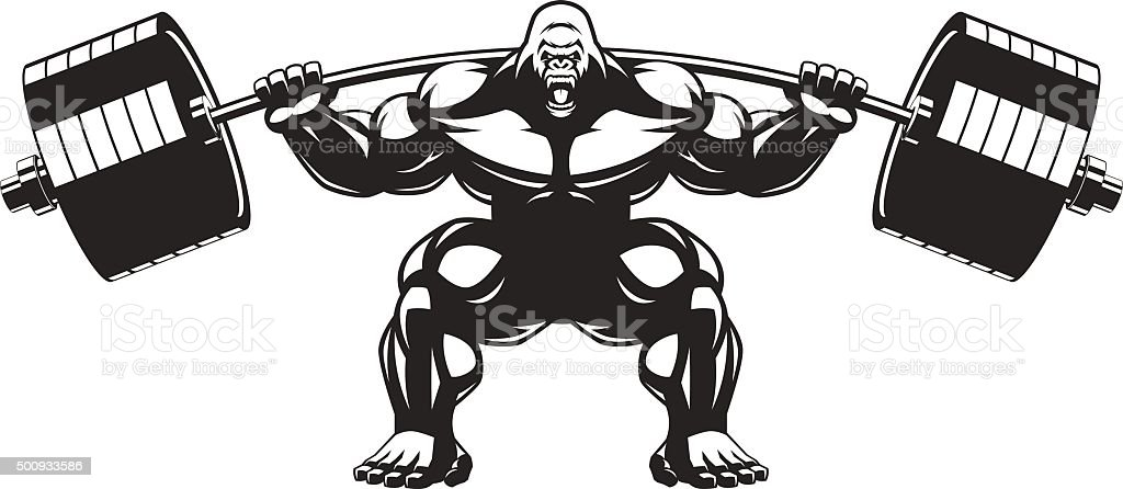 Strong monkey athlete vector art illustration