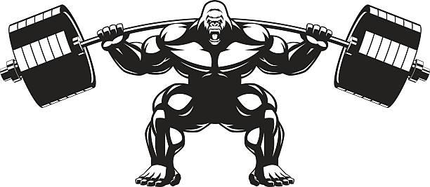 starke monkey athleten - gorilla stock-grafiken, -clipart, -cartoons und -symbole