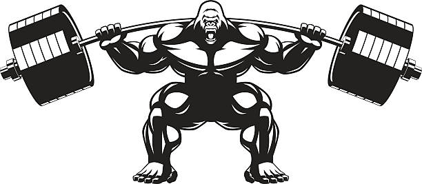 ilustraciones, imágenes clip art, dibujos animados e iconos de stock de mono atleta potentes - gorila