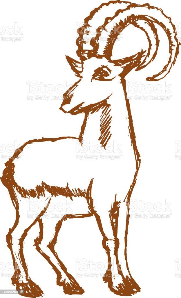 chèvre de montagne forte - Illustration vectorielle