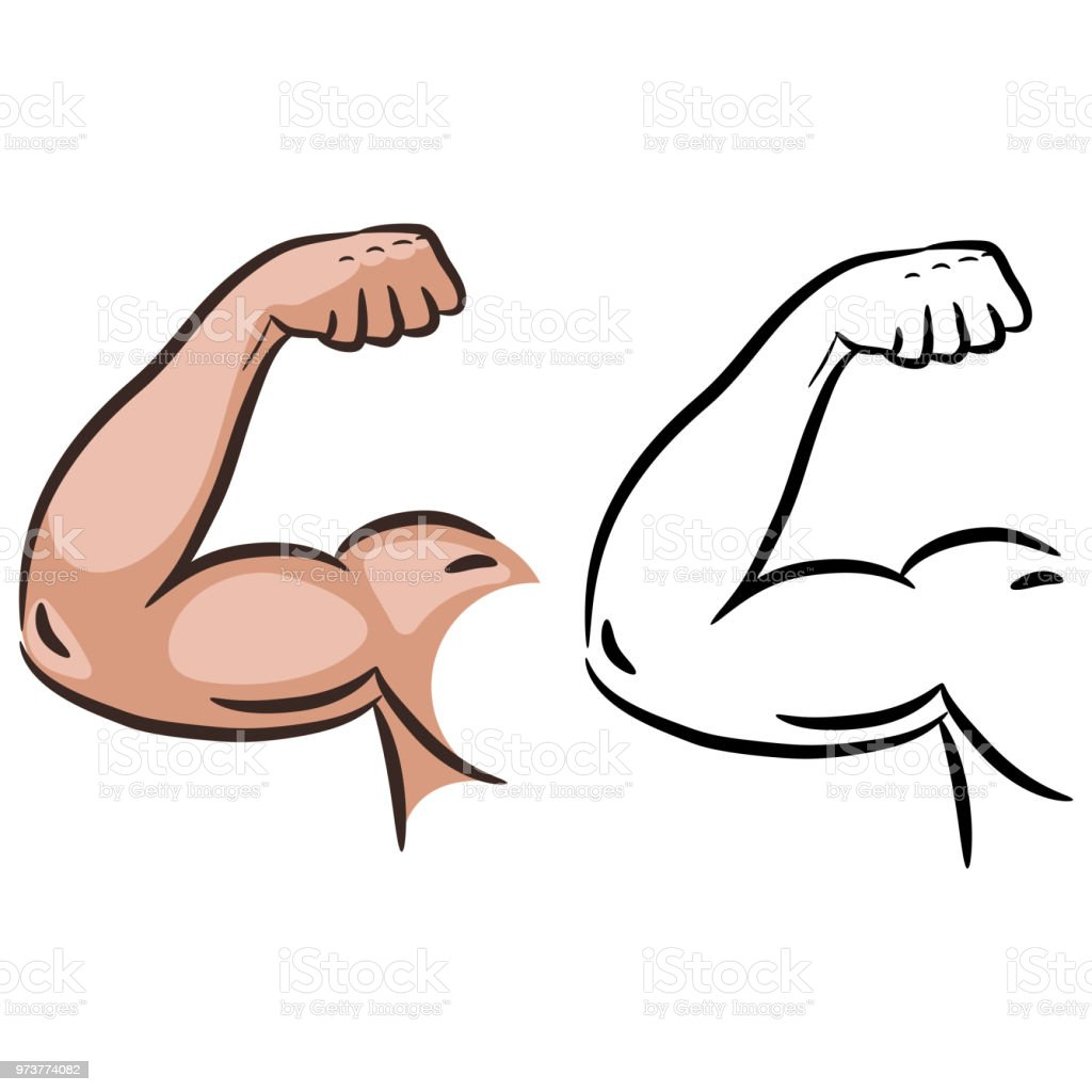 Strong muscle arm sketch line vector vector art illustration