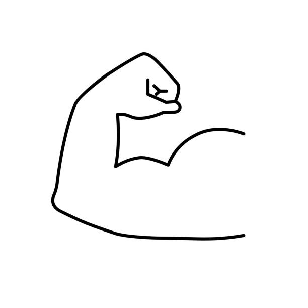 Strong muscles icon Strong muscles icon. Arm muscle vector illustration stiff stock illustrations