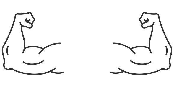 Strong muscular arms - vector icon