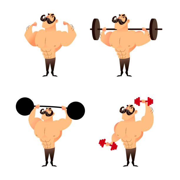 bildbanksillustrationer, clip art samt tecknat material och ikoner med stark muskulös atletisk bodybuilders inställd. seriefigurer - strenght men