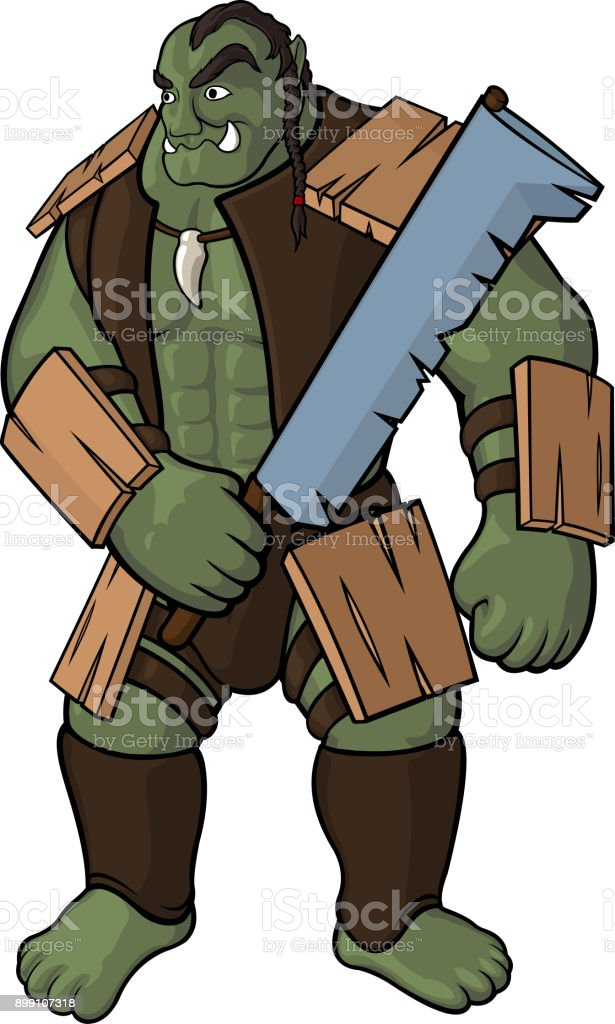 Strong orc with sword vector art illustration