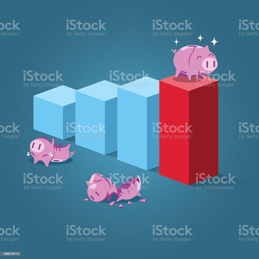 Strong piggy standing on highest step vector art illustration
