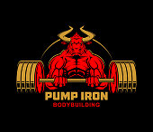 Strong ferocious muscular bull with heavy barbell - vector character illustration