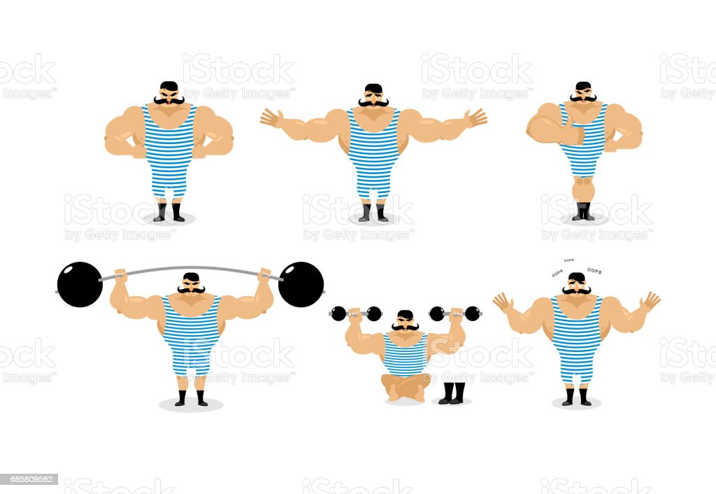 Strong retro athlete set poses. Ancient bodybuilder with mustache emotions. Sportsman in striped suit, and good evil. Sad and happy Strong circus performer. Aggressive and surprised vector art illustration