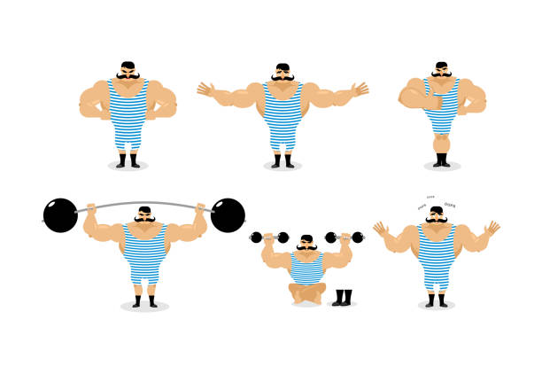 strong retro athlete set poses. ancient bodybuilder with mustache emotions. sportsman in striped suit, and good evil. sad and happy strong circus performer. aggressive and surprised - weightlifting stock illustrations, clip art, cartoons, & icons