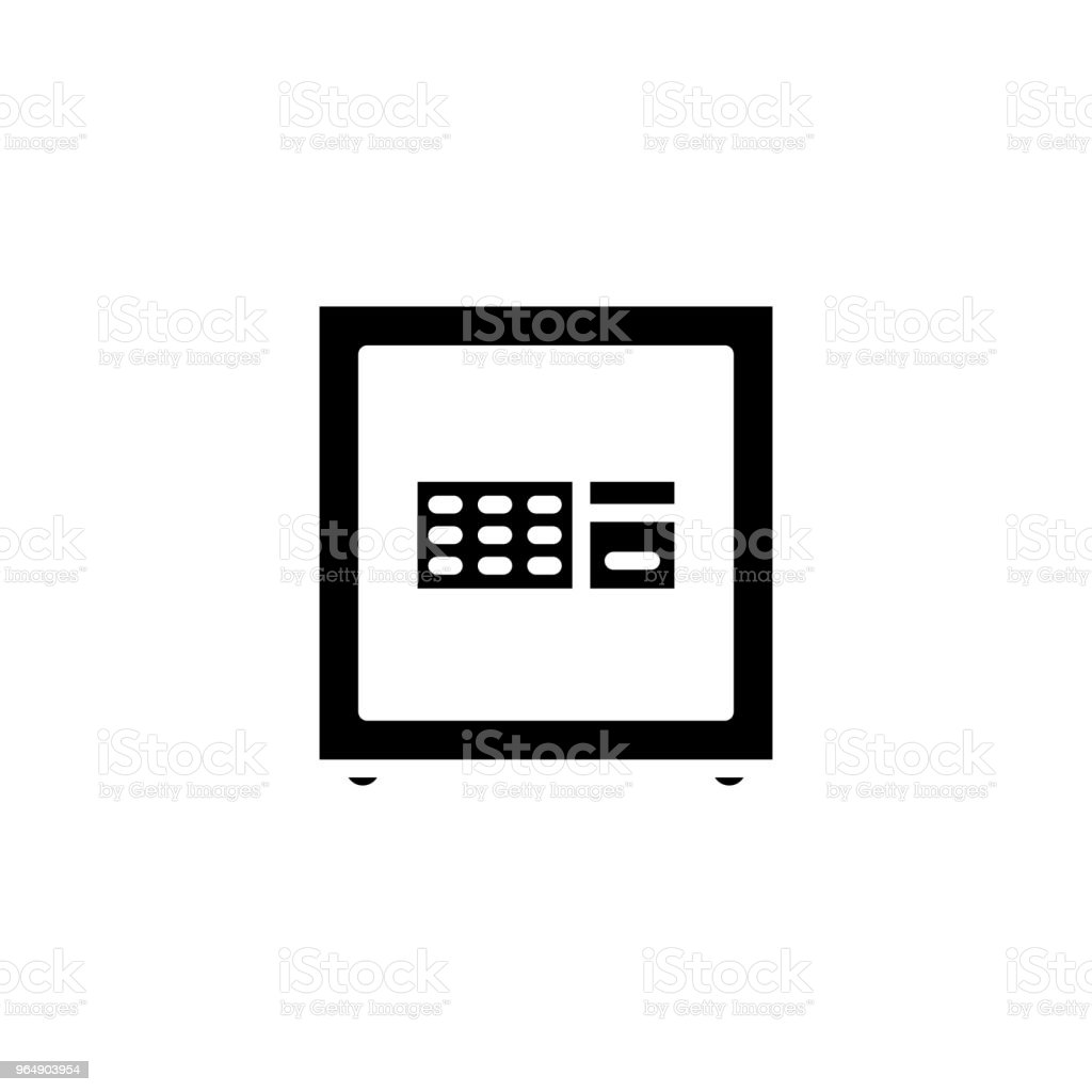 Strong safe box black icon concept. Strong safe box flat  vector symbol, sign, illustration. royalty-free strong safe box black icon concept strong safe box flat vector symbol sign illustration stock vector art & more images of antiquities