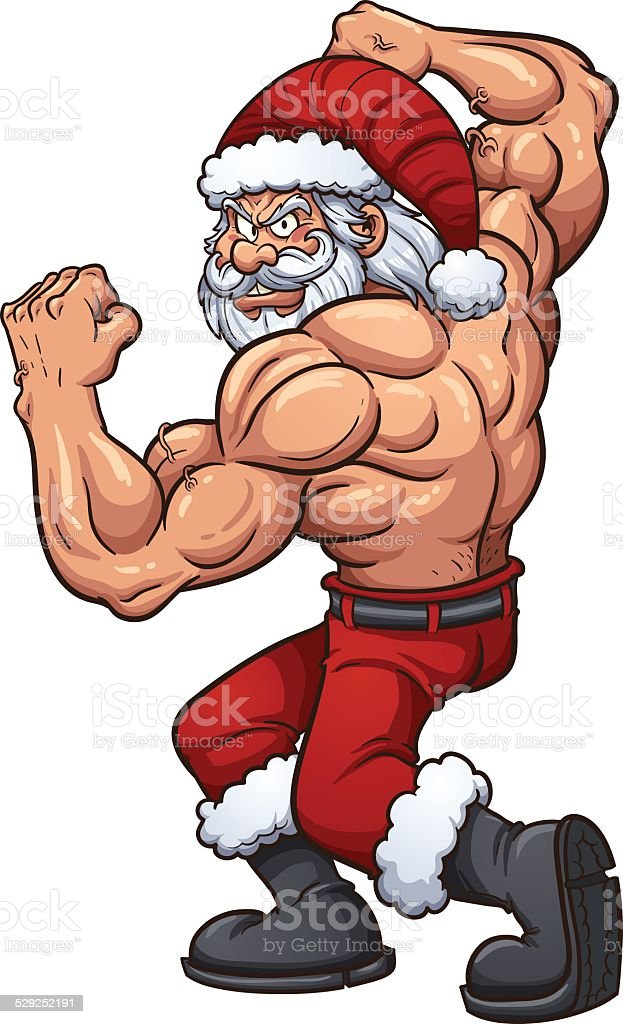 Strong Santa Claus vector art illustration