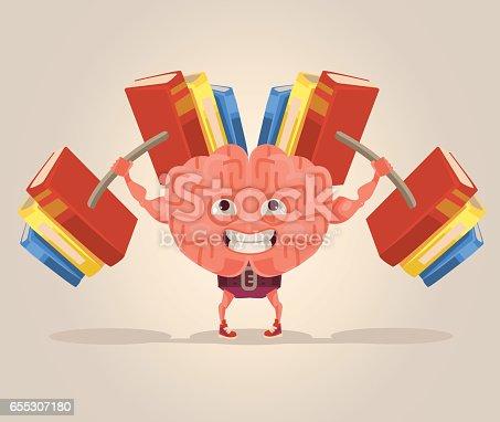 istock Strong smart brain character mascot 655307180