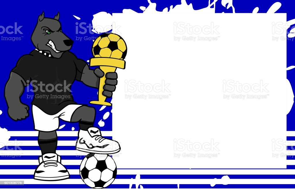 strong sporty dog futbol soccer player cartoon picture frame background