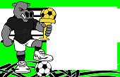 strong sporty hippo futbol soccer player cartoon picture frame background