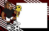 strong sporty horse futbol soccer player cartoon picture frame background