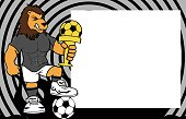 strong sporty lion futbol soccer player cartoon picture frame background