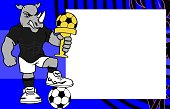 strong sporty rhino futbol soccer player cartoon picture frame background