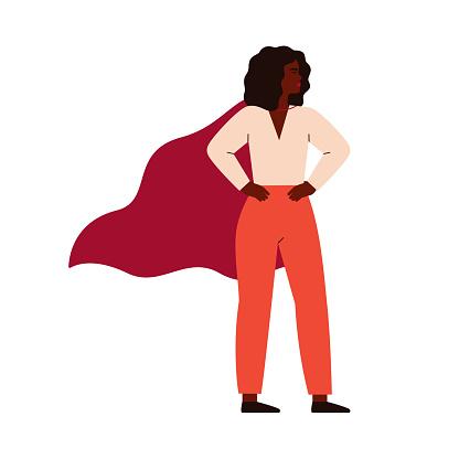 Strong superhero black woman wearing cape.