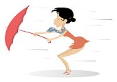 Strong wind, rain and woman with umbrella isolated illustration