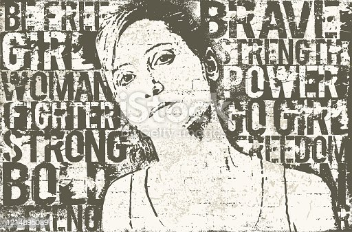 istock Strong woman stencil mural wall art 1214895089