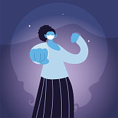 strong woman using face mask in the city vector ilustration
