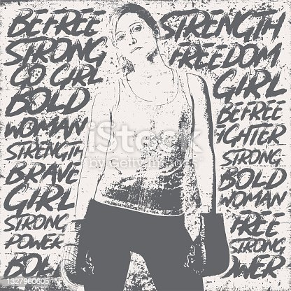 istock Strong woman with handwriting empowering words 1327960605
