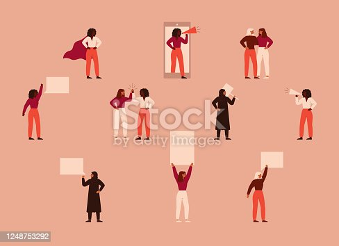 istock Strong women different nationalities and cultures protest. 1248753292