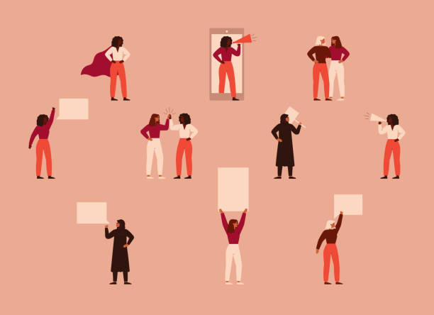 Strong women different nationalities and cultures protest. Strong women different nationalities and cultures protest. Concept of political meeting, parade, picketing, or demonstration, female's empowerment movement. Vector illustration in flat cartoon style. women's suffrage stock illustrations