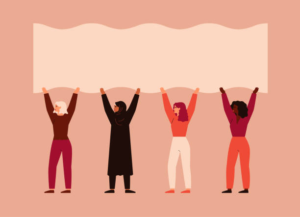 Strong women different nationalities and cultures stand together and pick up blank poster. Strong women different nationalities and cultures stand together and pick up blank poster. Vector concept of the female's empowerment movement and Environment conservation women's suffrage stock illustrations